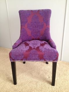 Connecting buyers and sellers of vintage Furniture Purple Velvet Chair, Living Room Designs, Living Spaces, Interior Decorating, Decorating Ideas, Decor Ideas, Patterned Chair, Purple Interior, Bedroom Decor