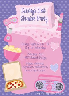 Slumber Party Invitation Sleepover PJ Movie Night Popcorn