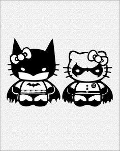 Hello+Kitty+Batman+&+Robin -These would make cute I Am Batman, Batman Robin, Kawaii Love, Nananana Batman, Hello Kitty Tattoos, Hello Kitty Pictures, Hello Kitty Wallpaper, Street Art, Arte Pop