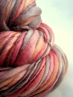 Handspun chunky merino thick and thin knitting by thefibretree, £8.99