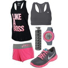 A fashion look from April 2013 featuring NIKE activewear tops, Champion sports bras and Asics activewear shorts. Browse and shop related looks.