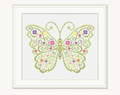 Cross Stitch Butterfly - Embroidery - Butterfly Cross Stitch Pattern - Scheme for cross stitch. This is a digital Cross stitch pattern that you can instantly download from Etsy after purchase. Patterns include a full color chart with color symbols, a thread legend. The whole chart