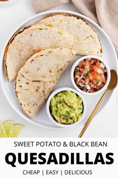This Mexican sweet potato and black bean quesadillas recipe is served hot off the skillet and loaded with flavor. Creamy sweet potatoes, hearty black beans, and melty vegan cheese are all folded together inside a homemade corn tortilla. You won't believe how easy this authentic Mexican snack is to make! It's 100% plant-based, gluten-free, and made without oil. #glutenfree #vegan #vegetarian #quesadillas #Mexicanfood Vegan Mexican Recipes, Best Vegan Recipes, Vegetarian Recipes Dinner, Bean Recipes, Vegan Dinners, Lunch Recipes, Healthy Recipes, Vegan Vegetarian, Vegan Food