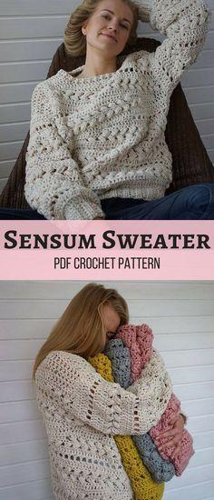 Make your own cozy Crochet Sensum Sweater! Love the beautiful puff stitch braids.