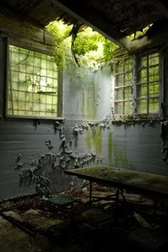 Abandoned hospital - even though it sound creepy, there is something happy and uplifting about this image Abandoned Prisons, Old Abandoned Buildings, Abandoned Mansions, Old Buildings, Abandoned Places, Magic Places, Abandoned Hospital, Haunted Places, Old Houses