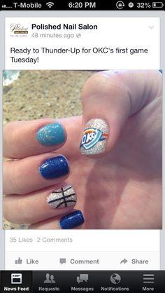 Okc thunder nail design with the basketball nail art design thunder prinsesfo Images