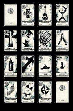 Réaliser par le graphiste Alex Griendling, une collection de quinze designs faisant office de jeu de tarot sur la série LOST. J'adore!