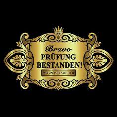 Flaschenetikett Aufkleber Sticker gold elegant - Prüfung bestanden in Dekoration  • Sticker