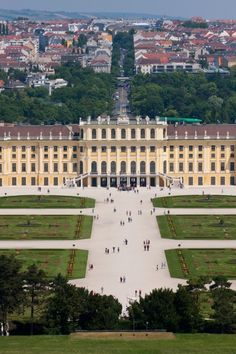 "Schonbrunn Palace, Vienna, Austria (1696-1712) The Hapsburg's Baroque estate--its massive scale & formal landscaping overwhelming--illustrates ""the concept of Gesamtkunstwerk, a masterly fusion of many art forms"". A UNESCO World Heritage site."