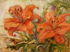 Two Tiger Lilies, painting by artist Deb Kirkeeide
