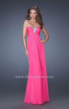 La Femme 19528 Hot Pink Flowy Strapless Chiffon Prom Dress