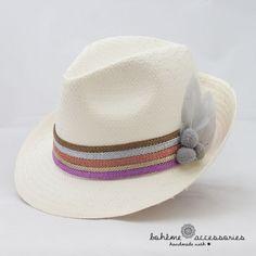 5cae9be756ebb Sombrero modelo borsalino de paja natural con cintas en tonos pasteles