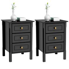 Set of 2 Nightstand Bedside Table End Side Stand Accent Table Cabinet 3 Drawers Bedroom Storage Furniture Black Image 1 of 6 Tall Nightstands, Black Nightstand, 3 Drawer Nightstand, Nightstand Ideas, Black Bedside Cabinets, Bedroom End Tables, Bedroom Night Stands, Bedroom Storage Cabinets, Bedroom Storage Furniture