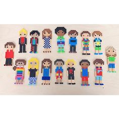 You don't even need to be able to cross-stitch to use DIY Stitch People! Katelyn Lafferty Crook's grade class made these ADORABLE guys out of the Stitch People patterns and Perler Beads! Melty Bead Patterns, Hama Beads Patterns, Beading Patterns, Pokemon Perler Beads, Diy Perler Beads, Christmas Perler Beads, Cross Stitch Family, Iron Beads, Melting Beads