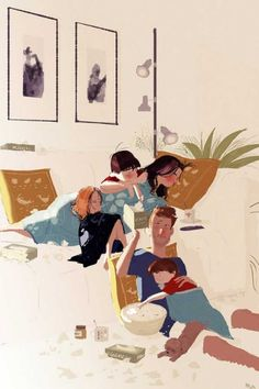 Family gathered at home one evening. Illustration of Pascal Campion. Family Illustration, Character Illustration, Digital Illustration, Couple Drawings, Art Drawings, Pascal Campion, Timberwolf, Wow Art, Illustrations And Posters