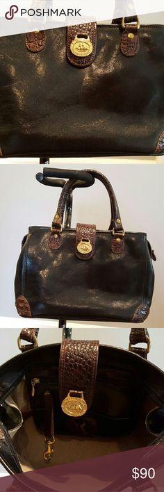 Brahmin Black and Brown Satchel Brahmin black/brown leather satchel with gold-tone hardware. Brahmin Bags Satchels