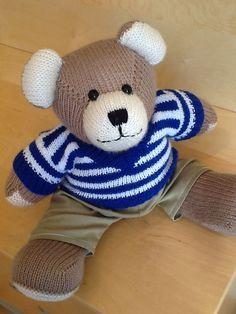 Beige Berd Bear, Blue Striped Sweater/Khaki Pants