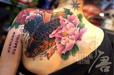 koi fish tattoo, peony tattoo by Meng Xiangwei @greattangtattoo http://facebook.com/greattangtattoo