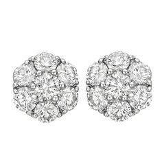 Charming Diamond Cluster Earstuds (~1.5 ct tw) | 1stdibs.com