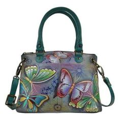 Women's Anna by Anuschka Hand Painted Small Satchel 8252 Butterfly Paradise