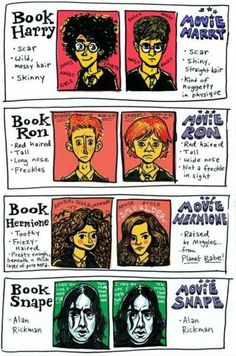 Harry Potter, Ron Weasley, Hermione Granger, Severus Snape appearances, books vs movies