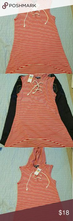Red and white hooded top, size small, FRESHMAN Sleeveless red and white stripe top with cord to adjust closure on the neck, high low bottom Freshman Tops Sweatshirts & Hoodies