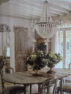 Gustavian style by Michele Lalandre...beautiful chandelier