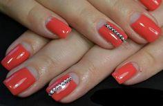 Coral nails Fashion nails 2016 Fashionable nails 2016 Half moon nails 2016 Long nails Moon nails 2015 Moon nails 2016 Nails with rhinestones Bright Red Nails, Coral Nails, Pink Manicure, Spring Nails, Summer Nails, Fall Nails, Nails Moon, Nails 2015, Romantic Nails
