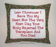 Funny Cross Stitch Christmas Pillow, by NeedleNosey on Etsy.