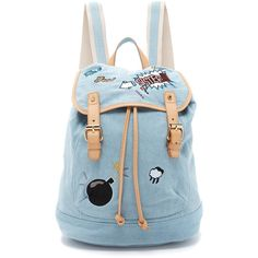 Paul & Joe Sister Fergus Backpack ($270) ❤ liked on Polyvore featuring bags, backpacks, light jeans, day pack backpack, embroidered backpack, blue drawstring bag, backpack bags and drawstring backpack bag