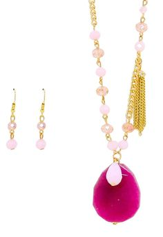 Fuchsia Stone Pendant and Tassel Drop Beaded Long Necklace Earrings Set
