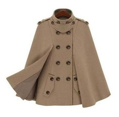 Womens Double Breasted Cape Coat Fabric: Wool Blend Fit: Slim Fit Color Available: Beige, Navy Size: One Size (small to slim medium) One Size Shoulder : 45 cm / 18 in - Length : 67 cm / 26 in Chest :