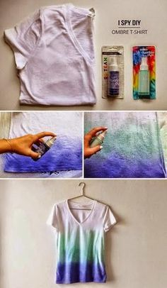 Projects: Dye Your T-shirts I'm thinking of so many fab color combos for this DIY Ombre t-shirt… the possibilities are endless!I'm thinking of so many fab color combos for this DIY Ombre t-shirt… the possibilities are endless! Diy Ombre, Blue Ombre, Ombre Color, Cute Crafts, Crafts To Do, Diy Crafts, Diy Projects To Try, Craft Projects, Craft Ideas