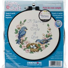 "Learn-A-Craft Family Love Counted Cross Stitch Kit-6"""" Round 14 Count"