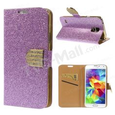 For Samsung Galaxy S5 G900 Glittery Powder Card Holder Leather Case Shell w/ Stand - Purple