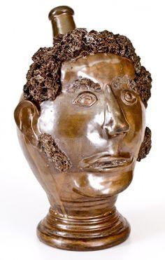 Face Jugs, Early American, Crock, Stoneware, Folk Art, Auction, Clay, Ceramics, Statue