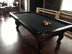 Traditional Billiard Room With Custom Black Felt Pool Table And Dark Walnut  Glossy Furnished Wooden Pool