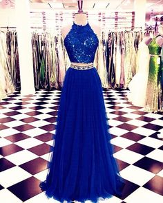 Lace Crop Top Tulle Prom Dresses Two Piece Evening Gowns Beaded Sashes Royal Blue Prom Dresses, Prom Dresses Two Piece, Lace Homecoming Dresses, Prom Dresses For Teens, Tulle Prom Dress, Formal Evening Dresses, Dance Dresses, Evening Gowns, Beaded Dresses