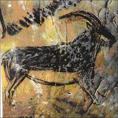 Una cabra montés pintada en las paredes de la cueva Salon Noir en Francia