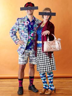 This fashion disaster duo costume is easy to make. Click for more ideas: http://www.bhg.com/halloween/costumes/easy-to-make-adult-halloween-costumes/