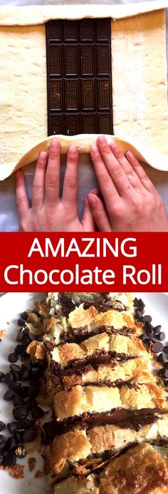 Wrap a chocolate bar in puff pastry dough and bake! That's my kind of dessert!!! This chocolate puff pastry roll is amazing, what a perfect thing to make with frozen puff pastry dough!