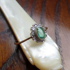 RESERVED Vintage Emerald Ring Emerald and Diamond Daisy by Addy, £130.00