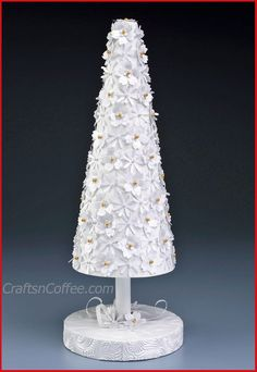 2016/01/25 Gorgeous! DIY tabletop Christmas tree with paper punches and a Styrofoam cone. CraftsnCoffee.com.