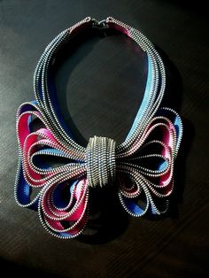My Bow Zipper Necklace by ReborneJewelry on Etsy, $210.00