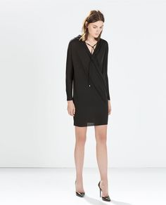 Image 1 of HOODED CROSSOVER DRESS from Zara
