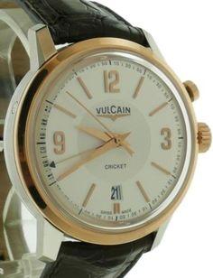 Mens-Vulcain-Cricket-Presidential-50-039-s-Steel-amp-18k-Alarm-Watch-Ref-110651-286L