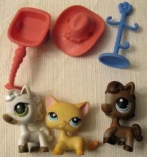 Littlest Pet Shop LPS Race About Ranch cat, horses # 337 338 339 + more added