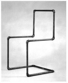 Welded gas pipe cantilever pipe chair, Mart Stam, 1926 *Lecture: Design Culture and Philosophy: Wittgenstein* *Lecture: Logic of Language* Pipe Furniture, Steel Furniture, Furniture Projects, Cool Furniture, Furniture Design, Industrial Chair, Industrial Style, Mart Stam, Home Decor Ideas