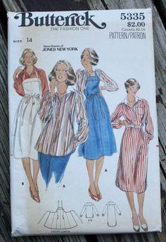 Butterick 5335 1970s 70s Rena Rowan of Jones New York Dress Blouse Apron Vintage Sewing Pattern Size 14 Bust 36