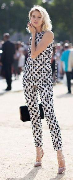 Black And White Embellished Pant Set Street Style
